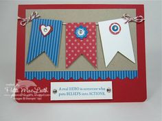 Veteran's Day by - Cards and Paper Crafts at Splitcoaststampers Craft Projects For Kids, Art Projects, Military Cards, Quick Cards, Veterans Day, Fourth Of July, Birthday Cards, Card Making, Paper Crafts