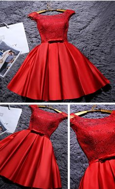 Red Short Satin Homecoming Dress, Cute A Line Mini Graduation Dress with Belt, Short Ruched Prom Dress with Lace : Red Short Satin Homecoming Dress, Cute A Line Mini Graduation Dress with Belt, Short Ruched Prom Dress with Lace Cute Homecoming Dresses, A Line Prom Dresses, Beautiful Prom Dresses, Dresses For Teens, Short Dresses, Dress Prom, Short Red Formal Dress, Graduation Dresses, Short Prom