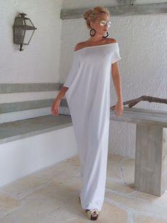 White Maxi Dress / White Kaftan / Asymmetric door SynthiaCouture
