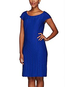 Flag Blue Textured Sheath Dress - Plus Too