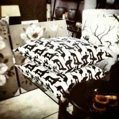 "New ""Hot Dog"" cushions displayed in Willow Shop, Salt Rock, North Coast. Sam Cross, Cross Art, Salt Rock, Dog Cushions, North Coast, Hot Dog, Printing On Fabric, Shop, Fabric Printing"