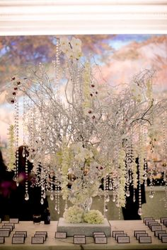 Beautiful Blooms Love Me Do Photography Curtis Center Cescaphe Event Group Crystal Tree Bling Tree Ivory and White Wedding Phalenopsis Orchids Hanging Crystals Gatsby Wedding, Mod Wedding, Wedding Table, Wedding Reception, Dream Wedding, Reception Backdrop, Trendy Wedding, Crystal Garland, Crystal Tree