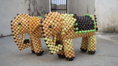 Vintage Tribal Kitsch 1970 Pair of Elephant Beaded by Lallibhai