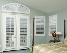 Window Treatment Options for French Doors - Danmer Custom Shutters Interior Shutters, Blinds For French Doors, Master Bedroom Window Treatments, Custom Shutters, Bedroom Interior, Interior, French Door Window Treatments, French Doors, Shutter Window Treatments