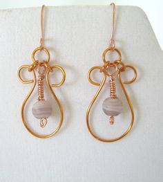 Copper Wire Wrapped Hoop Bead Dangle Earrings  by 2012BellaVida, $21.00