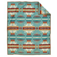 Pendleton Aqua Chief Joseph Wool Blanket (Twin)