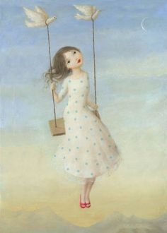 this reminds me of my sweet bebe... she often has this same thought and smile on her swing, too...