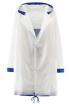 PIGALLE WATERPROOF PARKA White, transparent polyester parka featuring blue ribbon printed with white symbols on cuffs and inner hood lining. Also features two pockets, snap button closures, blue drawstring on bottom hem and blue printed triangles on back. Made in France. 100% polyester. PIGALLE Started in Paris in 2008, Stephane Ashpool's Pigalle has swiftly risen to streetwear prominence with its now-classic box logo tees. Ashpool, whose dad is an artist and whose mom once walked for Thi...