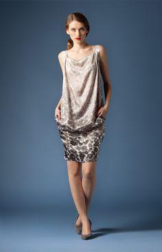 Satinkleid mit Leoparden-Print in Taupe | Joop leopard print satin dress