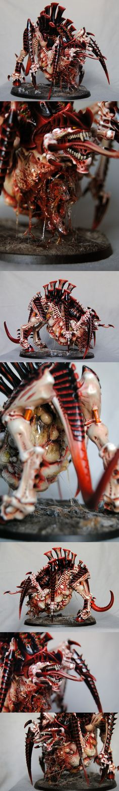 Tyranid Tervigon - different views Idk what that is, but it looks rad & metal as fuck Warhammer Paint, Warhammer Models, Warhammer 40000, Warhammer 40k Tyranids, Warhammer 40k Miniatures, Fantasy Miniatures, Mini Paintings, Game Workshop, Paint Schemes