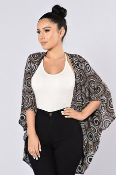 - Available in Brown and Teal - Woven Printed Kimono - Open Front - Light Material - 3/4 Sleeve - Made in USA - 100% Polyester