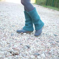 Boiled wool leg warmers Teal blue  knit felted leg by KnittedLT