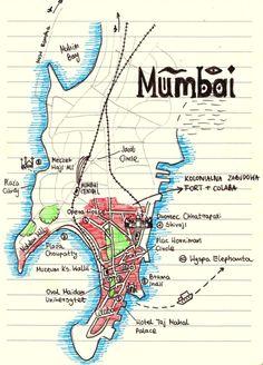 Mapa Mumbaju / Map of Mumbai http://gdziewyjechac.pl/31125/zwiedzanie-mumbaju-najwieksze-zabytki-miasta.html