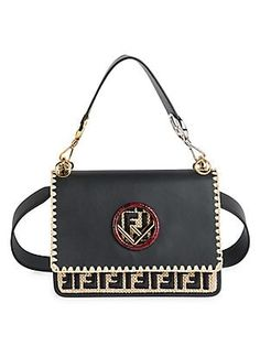 Fendi Kan I F Leather Shoulder Bag With Raffia Embroidery and Trimmings.  Megan Janay · Unique handbags 11d7835703174