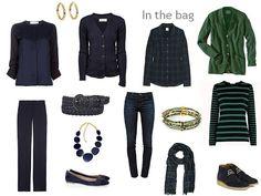 Navy and green travel wardrobe