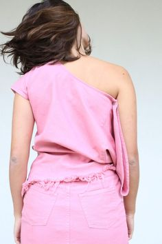 Pink one shoulder top with front slit