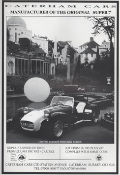 The Prisoner's Lotus 7, KAR 120C, arrives in The Village, in this advertisement for Caterham Cars.