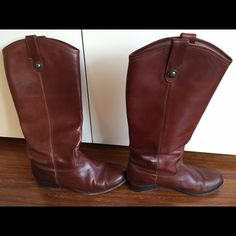 Frye Melissa leather boot size 7 in Cognac Gorgeous leather tall boot. Extremely comfortable and can be worn with anything. Very gently worn, the boots themselves are in great condition. Will send me pictures upon request. Frye Shoes