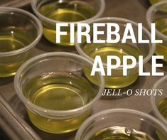 2 ways to enjoy Fireball Jell-O shots for any occasion! Recipe for Fireball Jell-O Shots. Cherry Bomb Jell-O shots and Apple Cinnamon Jell-O shots Fireball Jello Shots, Fireball Cocktails, Jello Pudding Shots, Fireball Recipes, Fireball Whiskey, Jello Shot Recipes, Baileys Drinks, Green Apple Jello Shots Recipe, Jello Shot Syringes Recipe