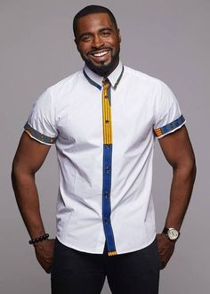 Tops - Zaire Button-Up African Print Trim Shirt (Yellow/Blue Circles/White) African Wear Styles For Men, African Shirts For Men, African Dresses Men, African Attire For Men, African Clothing For Men, African Style, African Fashion Designers, African Print Fashion, African Print Shirt