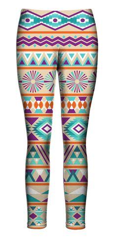 Blue Orange Purple Aztec Leggings