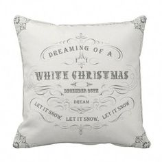 Shop Vintage Holiday...White Christmas pillow created by heathermyersdesigns. Personalize it with photos & text or purchase as is! French Country Christmas, Cottage Christmas, Christmas Shopping, Christmas Holidays, Christmas Ideas, White Christmas Decorations, Christmas Room, Blue Christmas, Happy Holidays