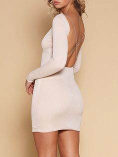 784d72bdec70 LoverMalls Beige Cross Strap Open Back Long Sleeve Mini Dress