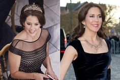The new tiara was worn as a necklace a year earlier (April 2015)  by Mary.  She bought this at an auction.