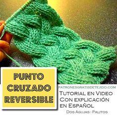 Como tejer el punto cruzado reversible dos agujas o palitos Cable Knitting, Knitting Stitches, Knitting Designs, Knitting Needles, Knitting Patterns, Love Crochet, Irish Crochet, Knit Crochet, Quick Knitting Projects