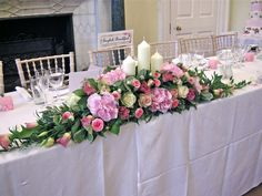 Top table wedding arrangement & Head table floral decor with five feet of lush white hydrangea ...