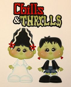 Frankenstein and Bride (Scrapbook Paper Piecings)