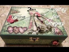 Passo a Passo caixa sapato com mosaico de botões e carimbos loucas por caixas - YouTube