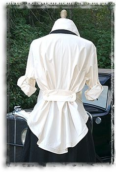 Men's shirt restyle--I love adapting men's high end cotton shirts. One of my favorite looks was a white polished cotton shirt with french cuffs. Shirt Refashion, Diy Shirt, Diy Clothing, Sewing Clothes, Diy Fashion, Ideias Fashion, Diy Vetement, Altered Couture, Creation Couture