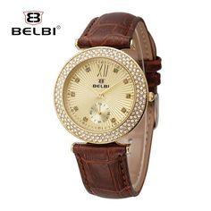 18.85$  Buy now - BELBI New Brand Luxury Women Leather Watches Fashion Casual Dress Gold Ladies Watch Quartz Crystal Wristwatch Relogios Feminine  #buyonline