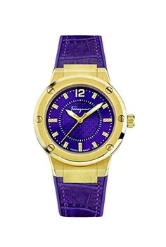 5fbe29e598f Salvatore Ferragamo Womens F80 Swiss Quartz Stainless Steel and Leather  Casual Watch ColorPurple Model FIG160016