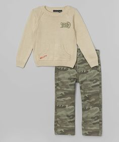 Look at this Calvin Klein Jeans Oatmeal Sweater & Olive Camo Pants - Boys on #zulily today!