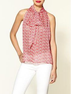 Ark & Co. Red Dot Tie Blouse  Dot print blouse with self tie and neck  Split hemline at back, check out back it's so cute!