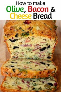 OMG, Olive, Bacon and Cheese Bread! Are you looking for a quick lunch fix at work? Or simply a good dish everyone will love at home for dinner? Serve this olive, bacon, ham and cheese quick bread w. Bread Snacks Recipe, Bread Recipes, Cooking Recipes, Quick Recipes, Cake Aux Olives, Brunch, Cheese Bread, Cheese Puffs, Cheese Sauce