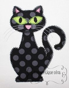 This listing is for a Halloween Black Cat Digital Embroidery Design Machine Applique. With your purchase you will receive the applique in 3 sizes: ,and in Both Zigzag and Satin Stitch. This design is created to be used on an Sewing Appliques, Applique Patterns, Applique Quilts, Applique Designs, Embroidery Applique, Machine Embroidery Designs, Quilt Patterns, Halloween Quilts, Halloween Applique