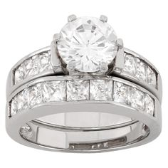 2 CT. T.W. Round-Cut Cubic Zirconia with Channel-Set Side Stones Bridal Set In Sterling Silver - (6), Women's