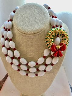 Repurposed Three 3 Strand Bib Multi Enamel Red White Christmas Wreath Brooch Upcycled Altered Statement Wedding Art Deco Necklace Doodaba Art Deco Necklace, Beaded Necklace, Christmas Necklace, Tote Bags Handmade, Art Deco Wedding, Purple Lilac, Vintage Pink, White Christmas, Just In Case