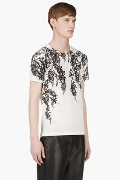ANN DEMEULEMEESTER White Floral Print T-Shirt