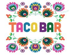 Taco Bar printable sign instant download -- perfect for the Taco Bar at your Fiesta! 8x10 digital sign -- floral
