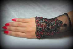 OOAK Hand Beaded Lace Cuff in Black with Ruby Red by YovankaBlack