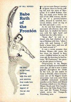 Jai Alai 1961 Erdoza Menor El Fenomeno The Legendary Babe Ruth of The Fronton | eBay