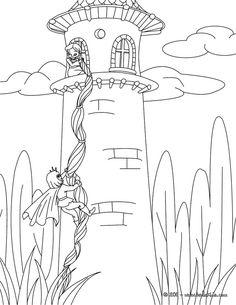 GRIMM fairy tales coloring pages - Rapunzel Grimm tale