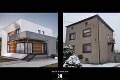 projekt przebudowy domu Siemianowice - m o n o c h r o m Kitchen Interior, Interior Design Living Room, Monochrom, Architecture Design, Sweet Home, Exterior, Patio, House Styles, Building