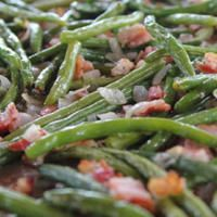 Green beans roasted with bacon and onions are a hit with all the cowboys.