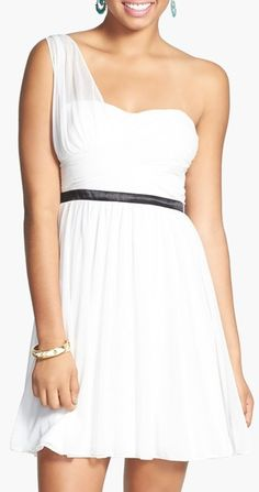 Hailey Logan One-Shoulder Crisscross Bodice Skater Dress