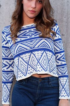 Our royal blue and ivory aztec sweater is very easy to match with any colors and is sure to give your cold-weather days a pop of color. This cotton crop sweater is a great weight for any season. - Roy
